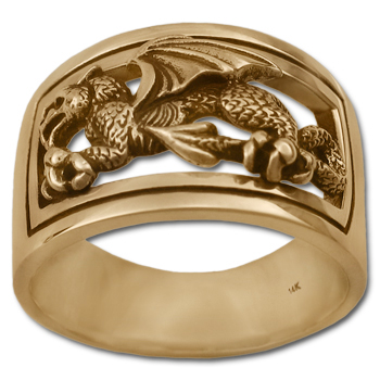 Welsh Dragon Ring in 14k Gold