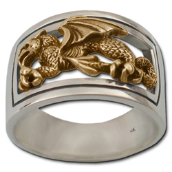 Welsh Dragon Ring in White & Yellow Gold