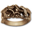 Gold Hummingbird Ring w/ Flowers