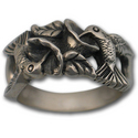 Silver Hummingbird Ring w/ Flowers