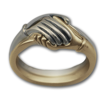 Two Part Hand Ring in White & Yellow 14k Gold