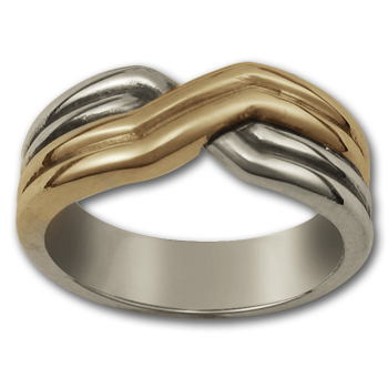 Crossover Ring in Silver & Gold