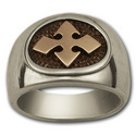 Bikers Cross Ring in Silver & Gold