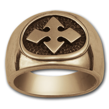 Bikers Cross Ring in 14k Gold