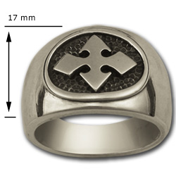 Bikers Cross Ring in Sterling Silver