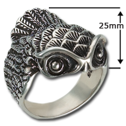 Owl Ring (sm) in Sterling Silver