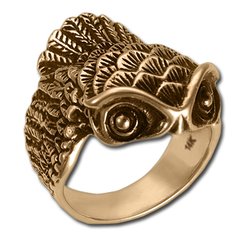 Owl Ring (sm) in 14k Gold