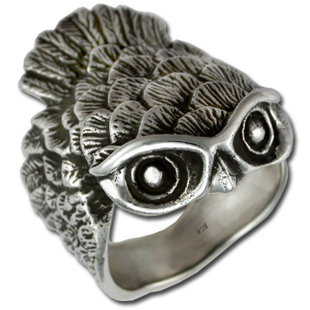 Owl Ring (Lg) in Sterling Silver