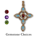 Rainbow Moonstone Cross in 14k Gold