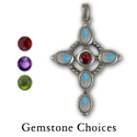 Rainbow Moonstone Cross in Sterling Silver