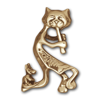 Kokopelli Kitty Pendant in 14K Gold