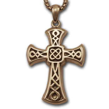 Heavy Celtic Cross Pendant in 14k Gold