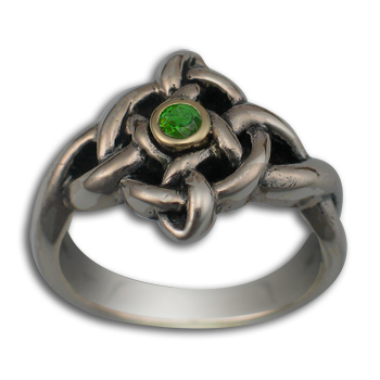 Celtic Twist of Fate Ring in White & Yellow Gold