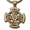 Celtic Mirror Cross Pendant in 14k Gold