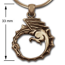 Dragon Ouroboros Pendant in 14k Gold
