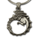 Dragon Ouroboros Pendant in Sterling Silver