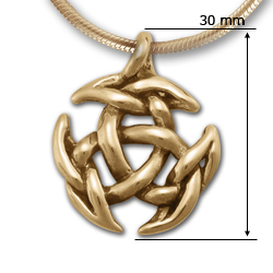 Sculptural Triskele Pendant in 14k Gold