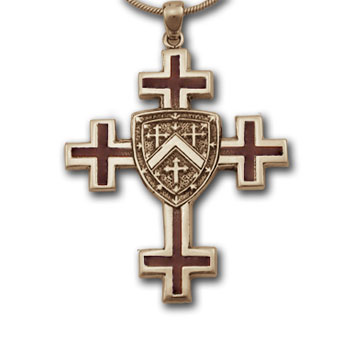Jerusalem Cross Pendant in 14k Gold w/ Enamel