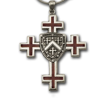 Jerusalem Cross Pendant in Sterling w/ Enamel