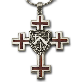 Jerusalem Cross (Lg) w/ Enamel in Silver