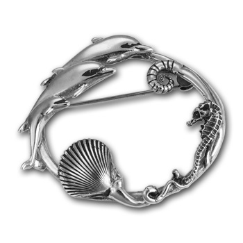Dolphin Brooch in Sterling Silver