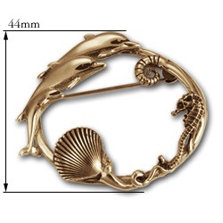 Dolphin Brooch in 14k Gold