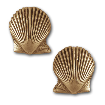 Seashell Earrings in 14k Gold