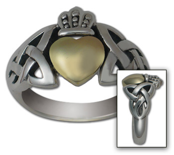 Celtic Claddagh Ring in White & Yellow Gold