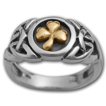 Shamrock Ring in White & Yellow Gold