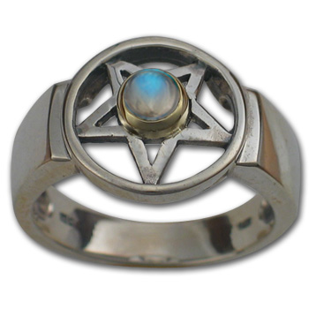 Pentagram Ring in White & Yellow Gold