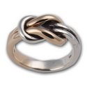 Lovers Knot Ring in White & Yellow Gold