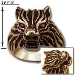 Wolf Head Ring in 14k Gold