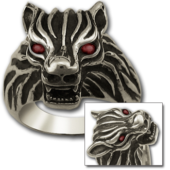 Wolf Head Ring in Sterling Silver