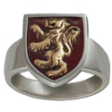 Rampant Lion Ring in White & Yellow Gold w/ Enamel