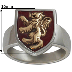 Rampant Lion Ring in Sterling Silver w/ Enamel