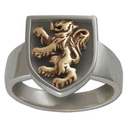 Rampant Lion Ring in Silver & Gold
