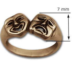 Comedy Tragedy Ring in 14k Gold