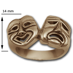 Comedy Tragedy Ring in 14k Gold (large)