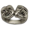 Comedy Tragedy Ring in Silver (large)