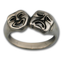 Comedy Tragedy Ring in Sterling Silver