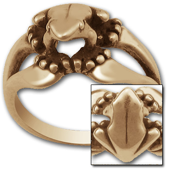 Tree Frog Ring in 14K Gold