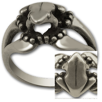 Tree Frog Ring in Sterling Silver