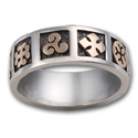 Celtic Symbols Wedding Ring in White & Yellow Gold