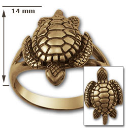 Turtle Ring in 14k gold