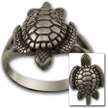Turtle Ring in Sterling Silver