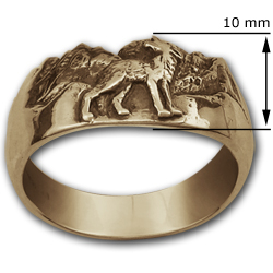 Howling Wolf Ring in 14k Gold