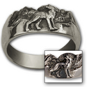 Howling Wolf Ring in Sterling Silver