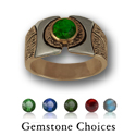 Gemstone Ring in Yellow Gold w/ White Accents