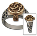 Celtic Poison Ring in White & Yellow Gold