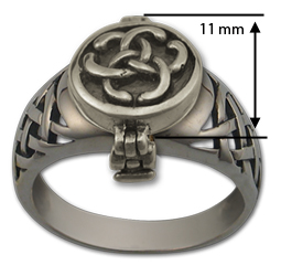 Celtic Poison Ring in Sterling Silver